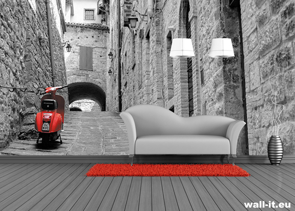 Czarno-biała fototapeta z czerwonym akcentem