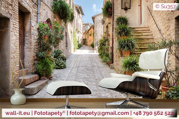 stara włoska słoneczna uliczka photomural photowallpaper